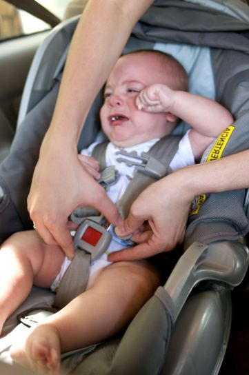母亲, 过程, 固定, 婴儿, 儿童, 背部, 座椅, 儿童, 安全, 座椅