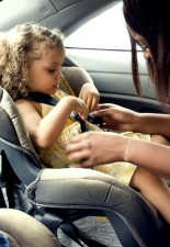 mother, process, securing, young, daughter, back, seat, child, safety, seat