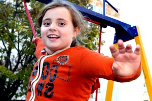 nice, smile, girl, plays, childrens, playground, full, color, laughter