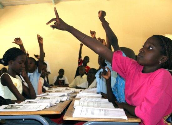 pupils, khar, yalla, elementary, school, grand, Yoff, district, Senegals, capital, Dakar