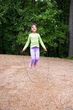 fille de l'école, jouer, saut, corde