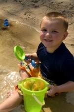 smile, young boy, play, beach