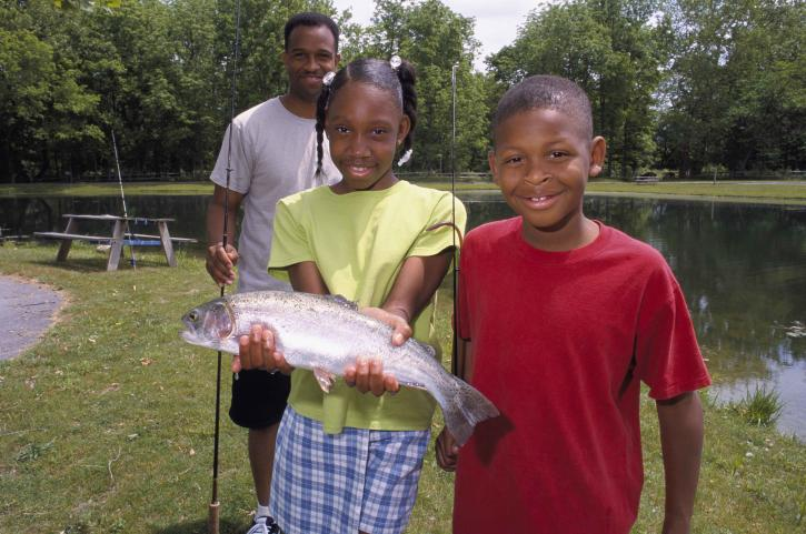 son, daughter, proudly, show, rainbow, trout, caught, father
