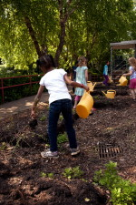 Afro-américaine, fille, premier plan, les mauvaises herbes, jardin