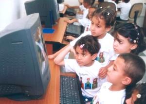 copii, focus, atenţia, computere, care rulează, educaţionale, software-ul, program