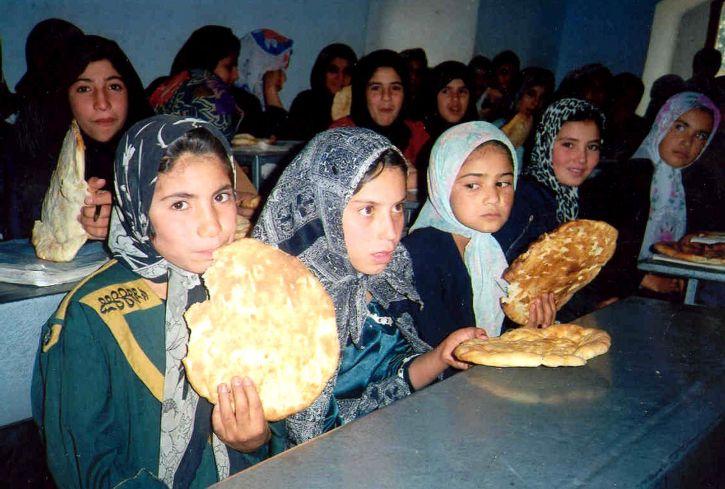 jeune, Afghanistan, filles, manger