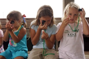 three, cute, blonde, girls, sitting, bench