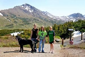 three, girls, hike, mountain, dog