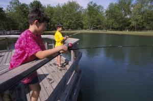 two, children, enjoy, day, fishing