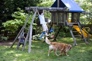 deux, les enfants appréciant, en bois, balançoire, mis