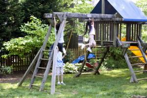 two girls, one, Hispanic, girl, play, boy