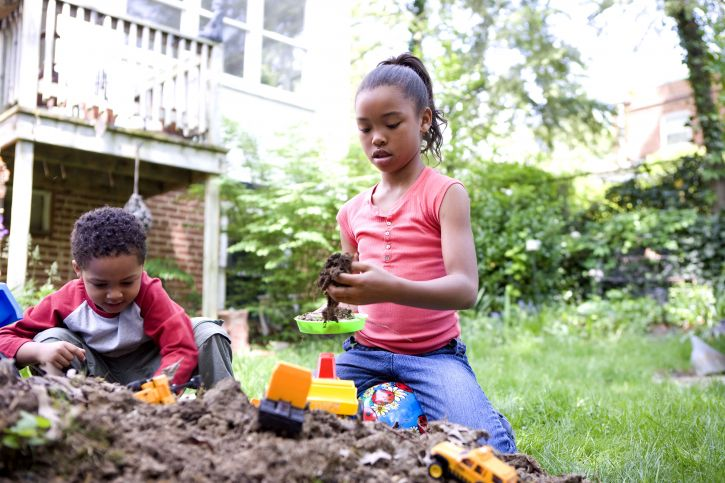 Free Picture Two Young African American Children Play Outside Backyard Dirt Pile