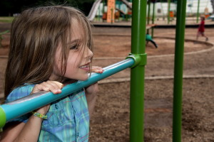 cute, girl, hanging, arms, one, playground