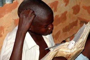 young, African, boy, studying