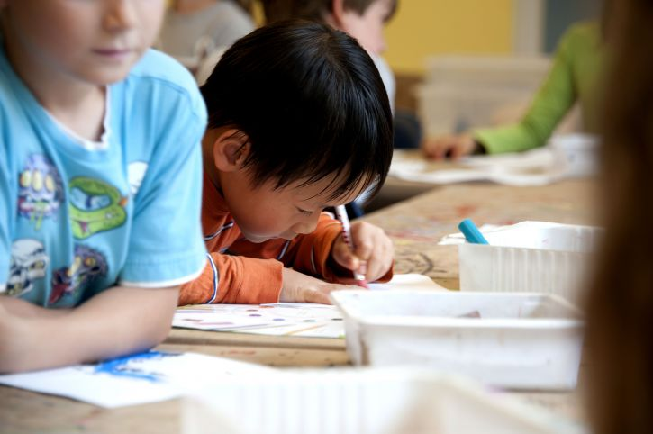 млади, азиатски, американски, момче училище, клас