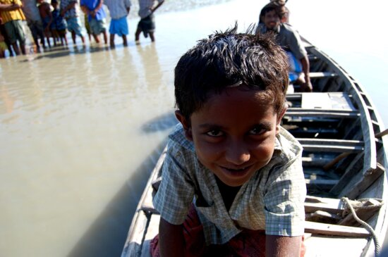 young boy, boat, Rabnabad, channel, Bara, Baisdia, union, Galachipa, Upazila, Patuakhali