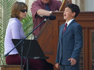 young boy, singing