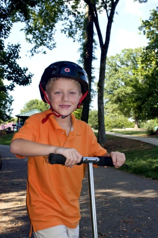young boy, day, fun, riding, scooter