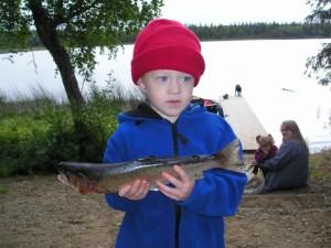 unge, søde dreng, fisk, hænder