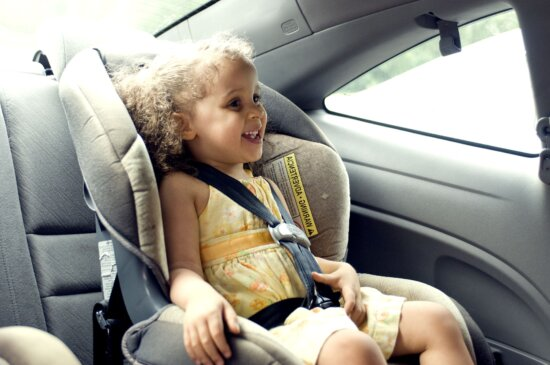 young, cute, female, child, back, seat, car, set
