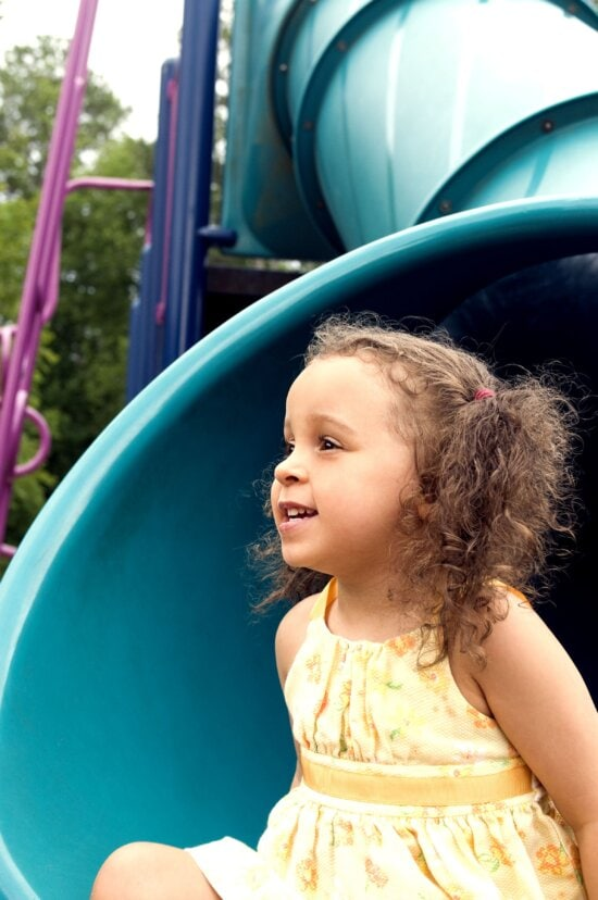 young girl, fun, play, rides