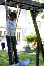 young girl, play, outside, backyard, swing, set, background, mother