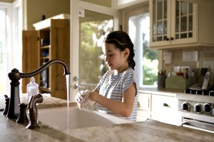 young girl, shown, process, washing, hands, kitchen, sink