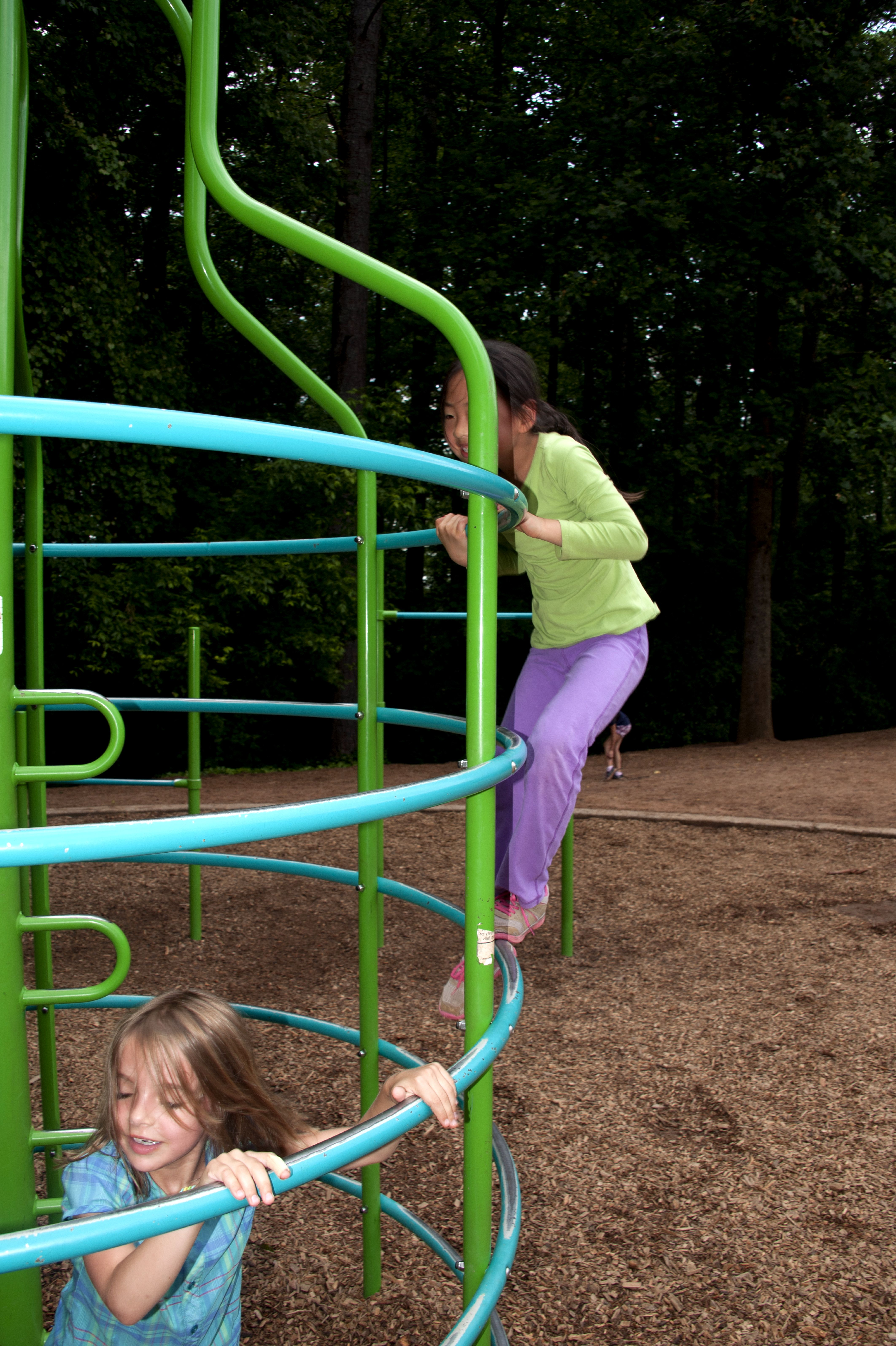 Free photograph; young, girls, climbed, upon, play, yards, monkey, bars