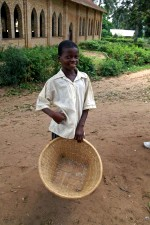 young, happy, Afro boy, carrying, basket