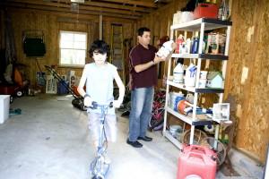 djecu, opremljena, prikladno, osobno, zaštitni, oprema, kacige