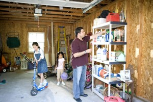 children, play, garage, father, working