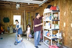 children, play, garage, father, working