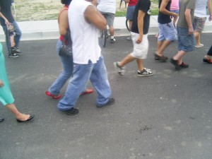 group, people, walking, down, street