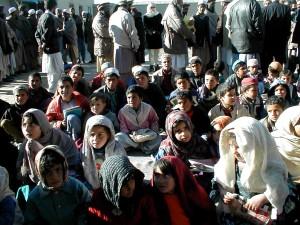 afghanistan, girls, boys, attend, outdoor, schools