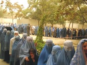 아프가니스탄, 여성, 스탠드, 라인, 투표