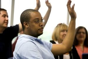 African American, muž, jeden, účastníkov, mesto, hall, stretnutie