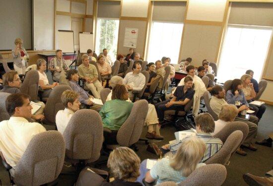 audience, classroom, listening, intently, speaker, meeting