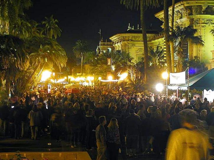 balboa, park, crowds, nighttime, palm trees, lights