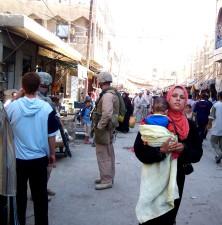 busy, market, scene