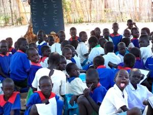 barn, forbereder, lære, lese, Rejaf, primær skole, Juba, Sudan