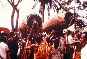 drummers, following, chief, ceremony, west, Africa