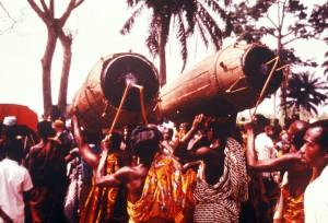 bateristas, seguinte, chefe, cerimônia, oeste, África