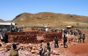фермери, села, Sekota, Ефіопії, Африці, побудувати, зерна, Банк