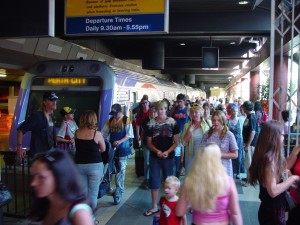 voll, Zug, Plattform, perth, Eisenbahn, Station