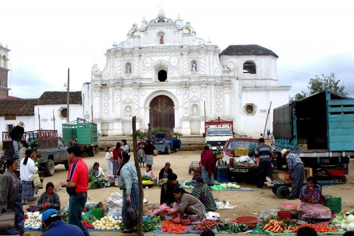 Gvatemala, otvoren, tržište, sprijeda, crkva, Comalapa