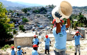 haiti, workers, clearing, rubble