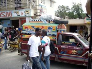 hustle, bustle, street, scene, Haitian, town