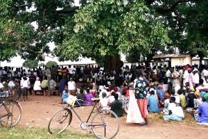 large, crowd, meeting, Uganda