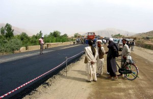 local, residents, observing, paving, Kabul, Kandahar, road