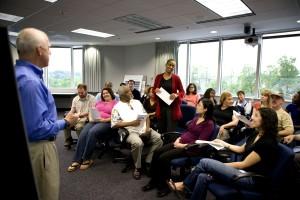 man, speaking, town, hall, meeting, audience